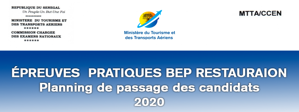 Planning de passage des candidats BEP RESTAURATION 2020